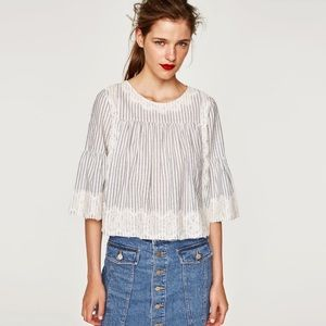 Zara Trafaluc Striped Eyelash Lace Babysoll Top